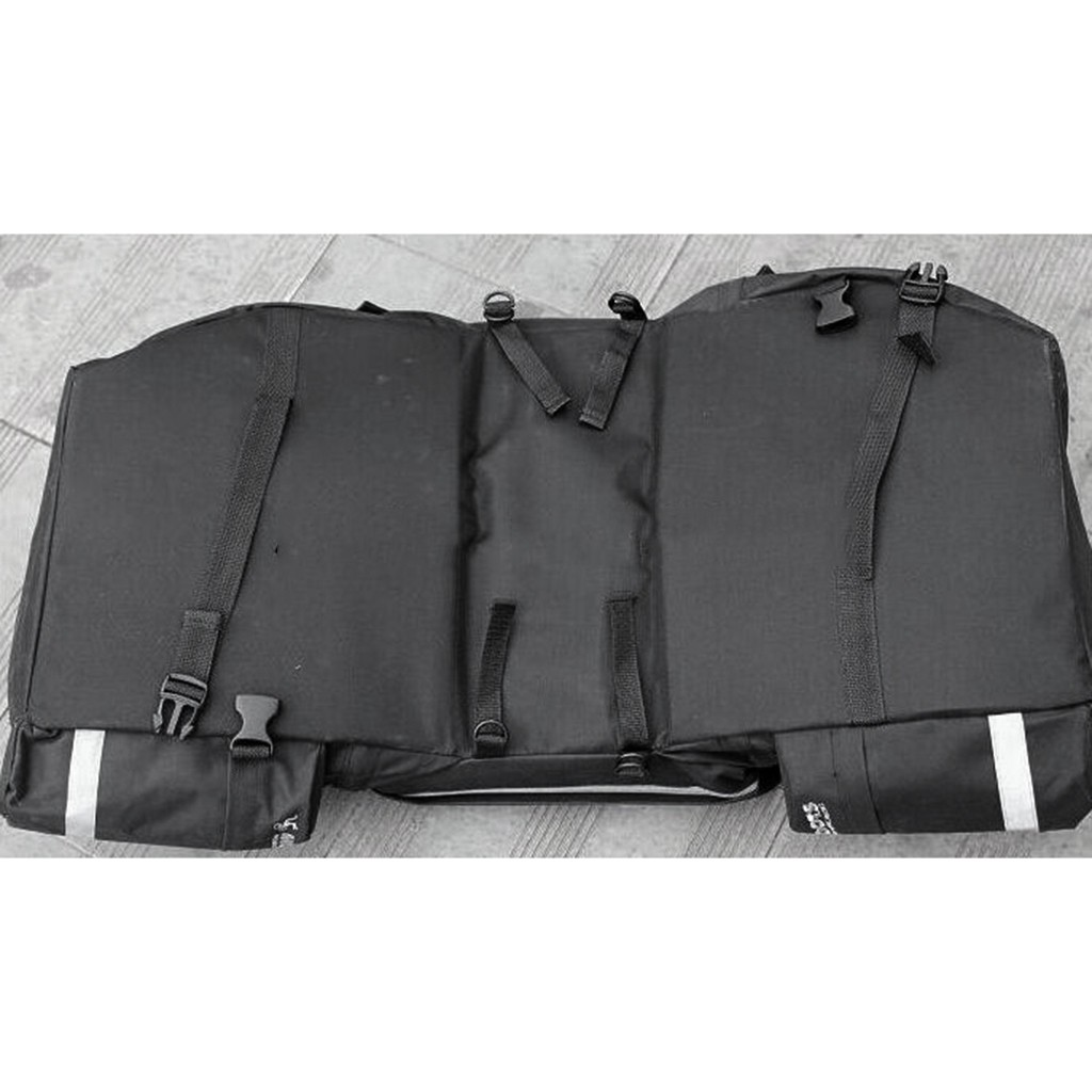 43L Touring Bike Black Rear Pack One-piece Double Pannier Cargo Saddle Bags