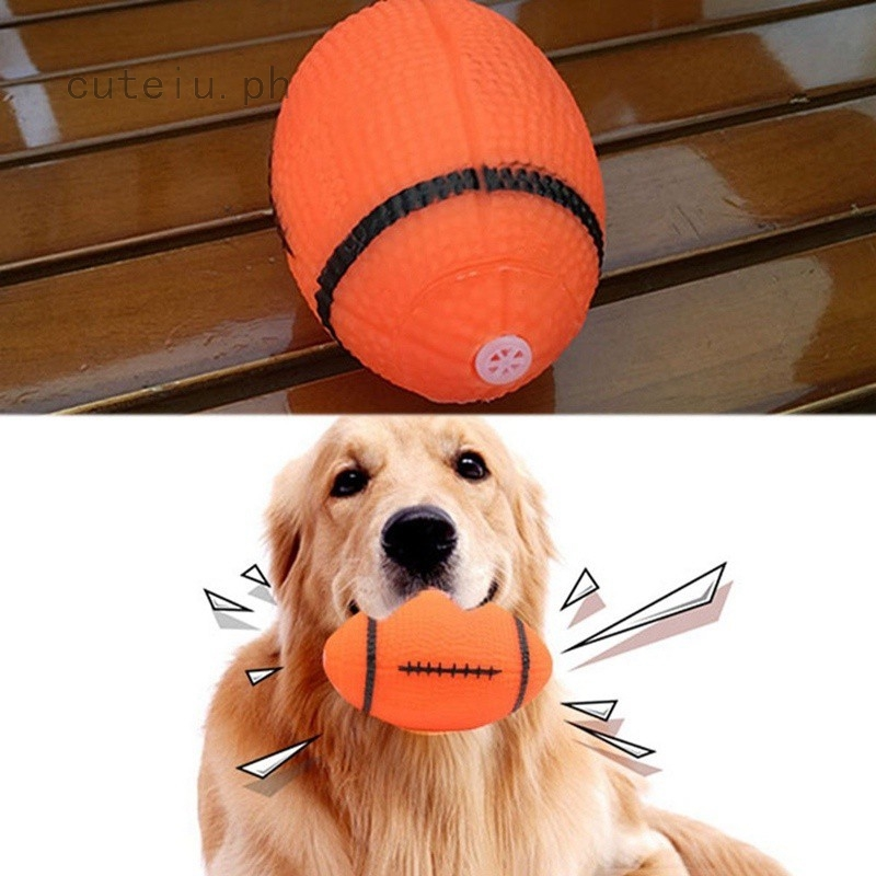 1pc Squeaky Dog Toy for Pet Dog Chew Toy Football Shape Rubber Squeaky  Rugby Ball