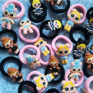 4 Ponytails Elastic Hair Ties Band Ponies~ Peppa Pig Disney LOL Surprise Girls