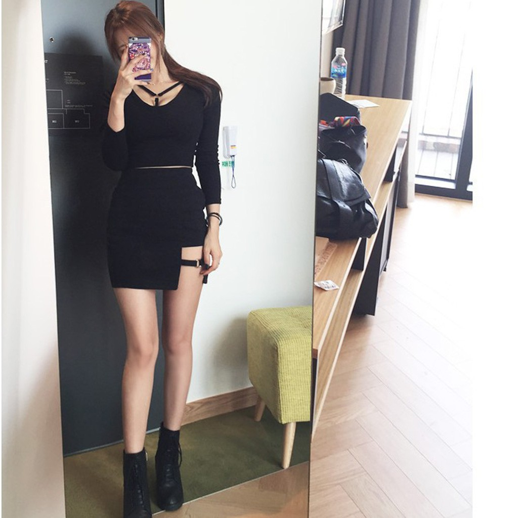 Korean Style Black Package Hip Skirts Pencil Mini Skirt   Shopee ...