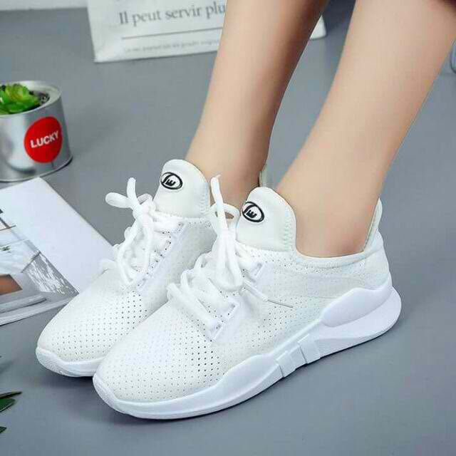 KOREAN RUBBER WHITE SHOES FLAT(add 1size order)