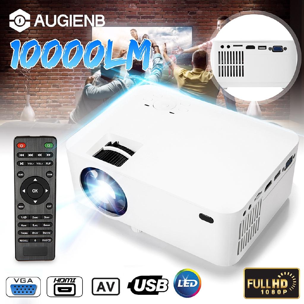 HD 1080P LED Portable Projector Home Video Theater Projector HDMI VGA SD AV TV