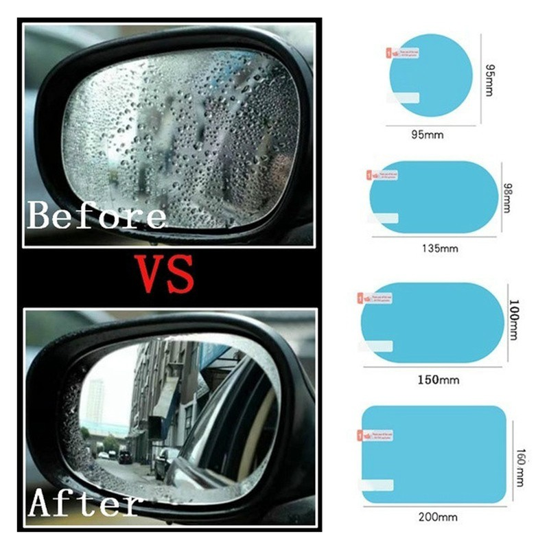 2x Car Anti Fog Anti-glare Rainproof Rearview Mirror Trim Film Cover 10*14.5cm