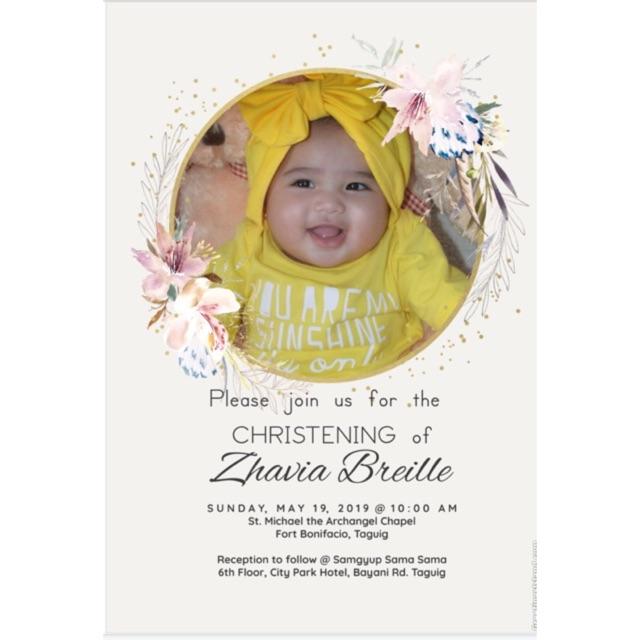 Invitation Card For Birthday Christening Wedding
