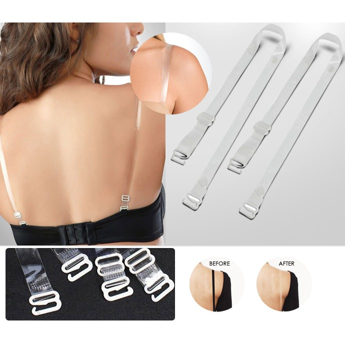 JARA Womens Invisible Clear Replacement Bra Straps Transparent Removable PAIR