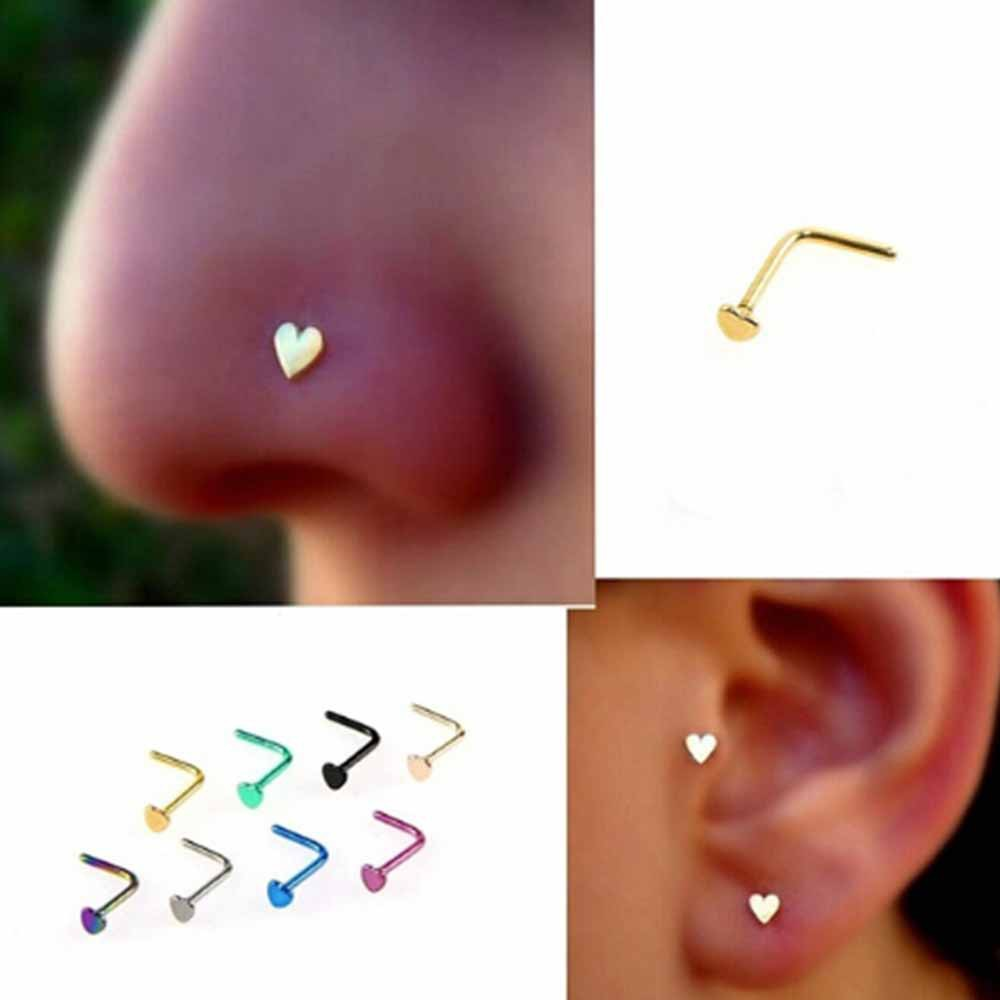 Steel Screw Jewelry Body Nose Ring Piercing Stud Ring Shopee