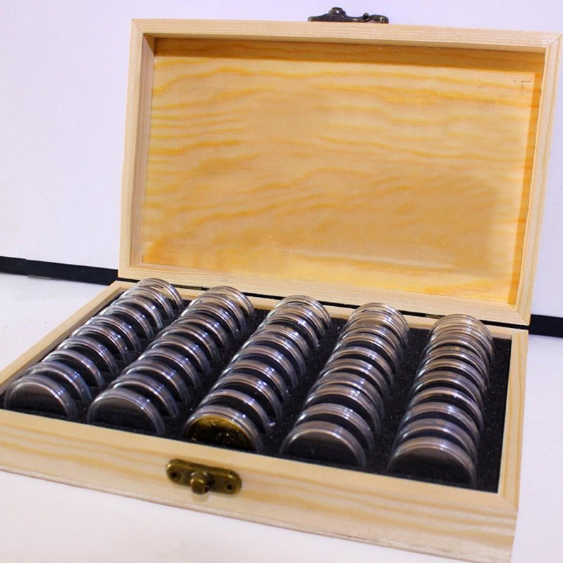 Wood 30pcs Coins Storage Box Coins Display Case Slab Certified Coin Wooden Case