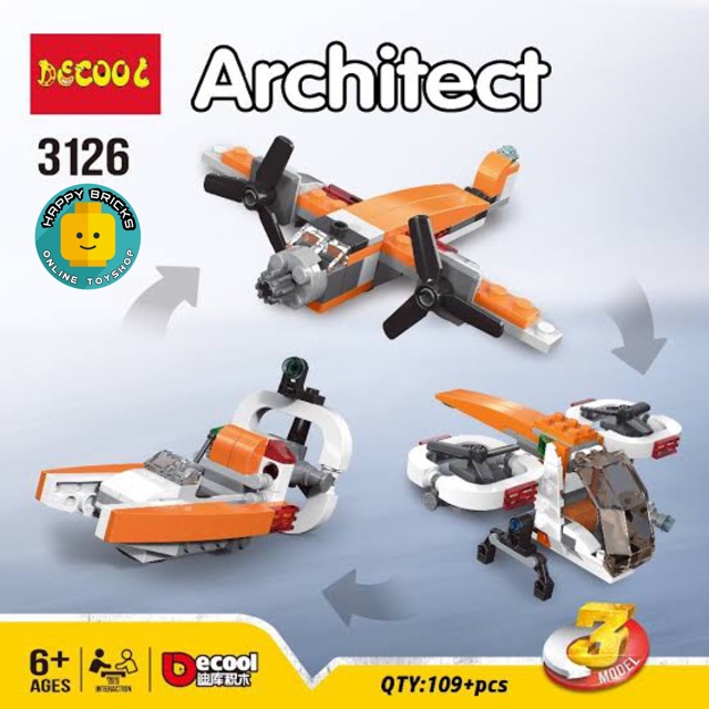 DECOOL 3126 ARCHITECT CAR 3in1 Build Building Blocks Toy