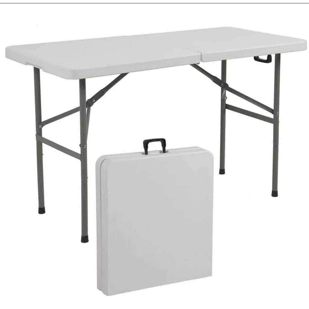 4ft Folding Half Table With Foldable Steel Legs 122 60 74cm Shopee Philippines