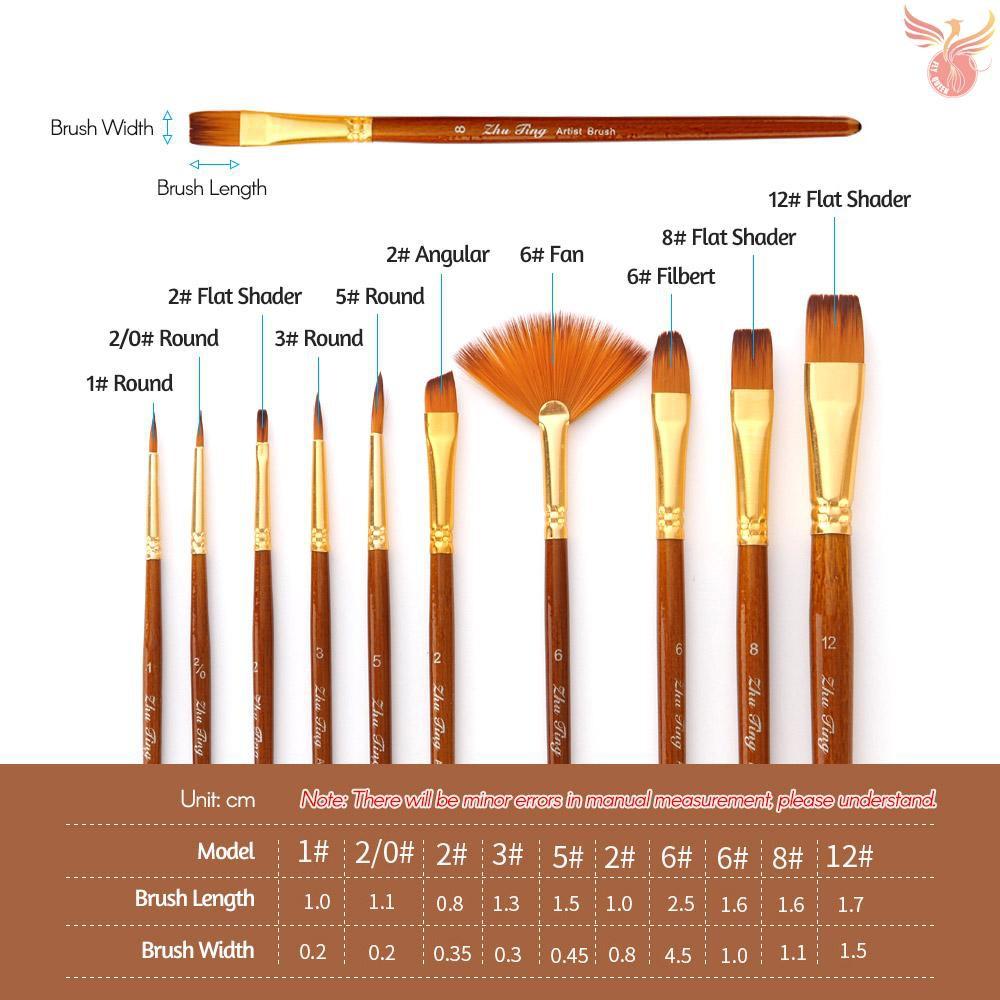 6Pcs//Set Nylon Hair Round Paint Brush Hook Line Pen Artist Draw Painting Q