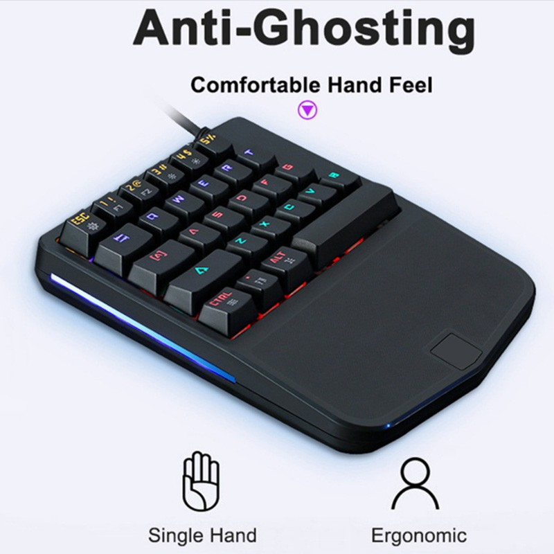 30906182549 ProductImage. ProductImage. DS✐Wired Multimedia Keys Light Ergonomic PC  Single Hand Gaming Mechanical Keyboard