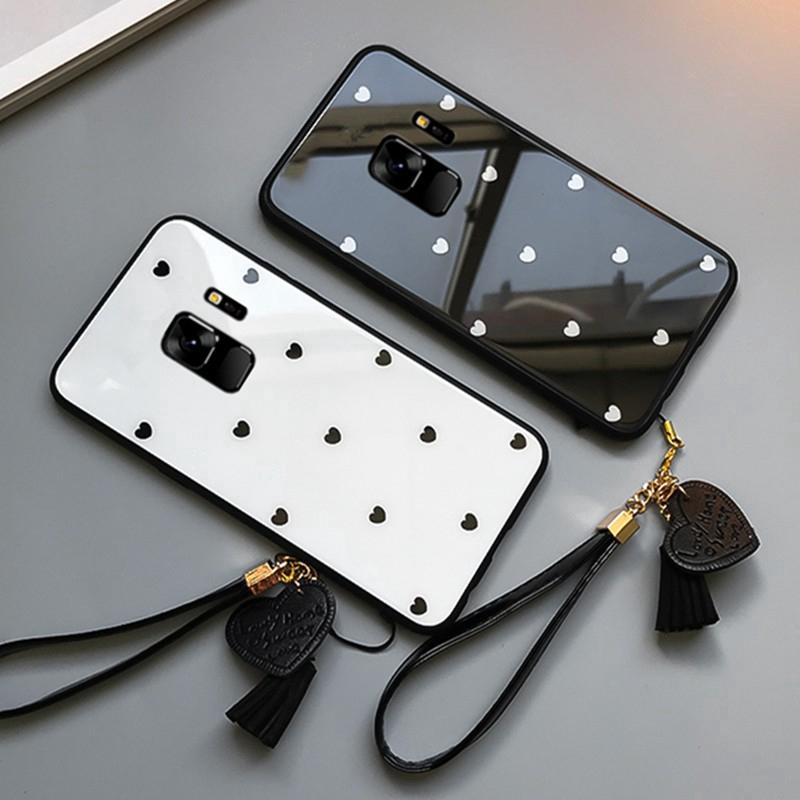 pretty nice b2ae9 7b2b8 Samsung Galaxy s9 s8 plus Note 9 8 Glass Case Heart Lanyard