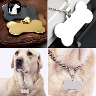 Ready Stock + Cute Personalized Engraved Stainless Steel Dog Cat Pet ID Name Blank Bone Tag