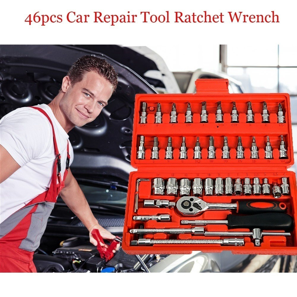 46pcs Spanner Socket 1/4 Inch Drive Socket Set Ratchet Wrench Tools Kit For  Auto Repairing   Shopee Philippines
