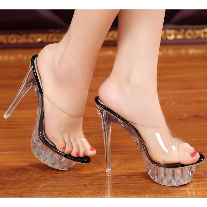 e9df5c645b4 Sexy fashion women 14 cm high heels transparent crystal slippers sandals  shoe