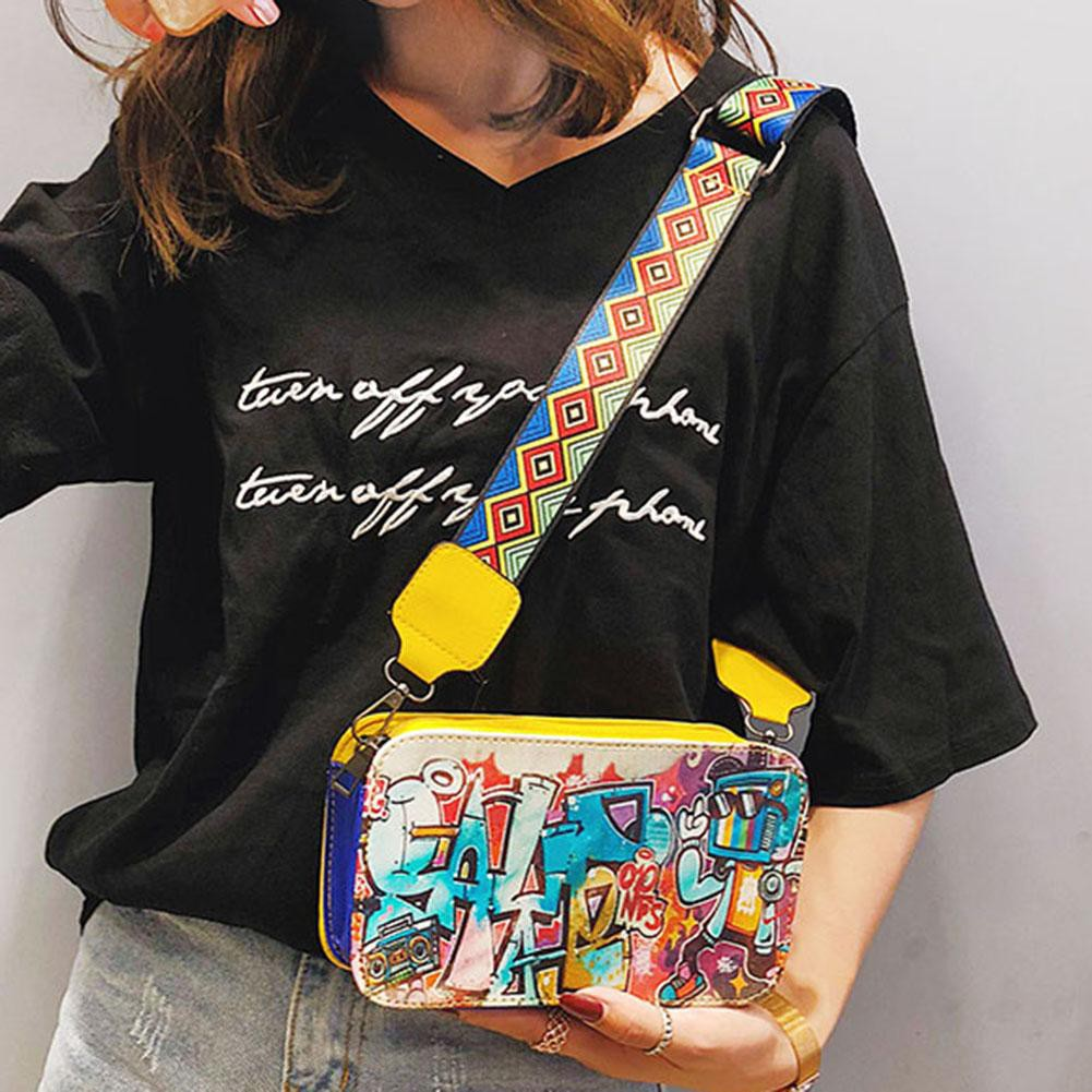 d1b08107af94 Crossbody Handbags Graffiti Leather Square Shoulder Bags
