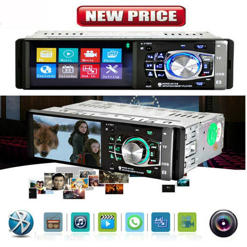 "4.1/"" HD Single 1DIN Car Stereo Video MP5 Player Bluetooth FM Radio AUX//USB//SD//TF"