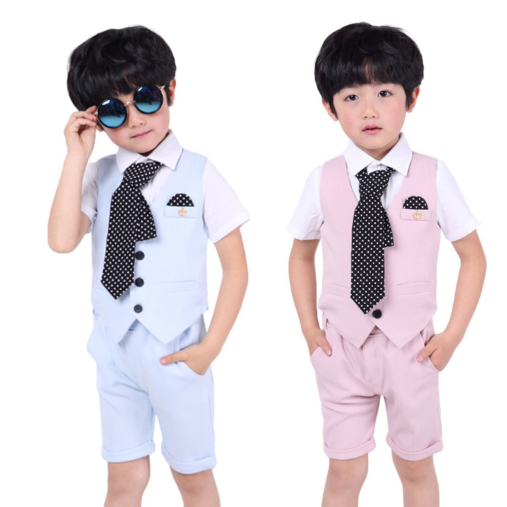 ab460bbbe Kids Formal Dress Gray Plaid Jacket+Pants Vest Bowtie Suit | Shopee  Philippines