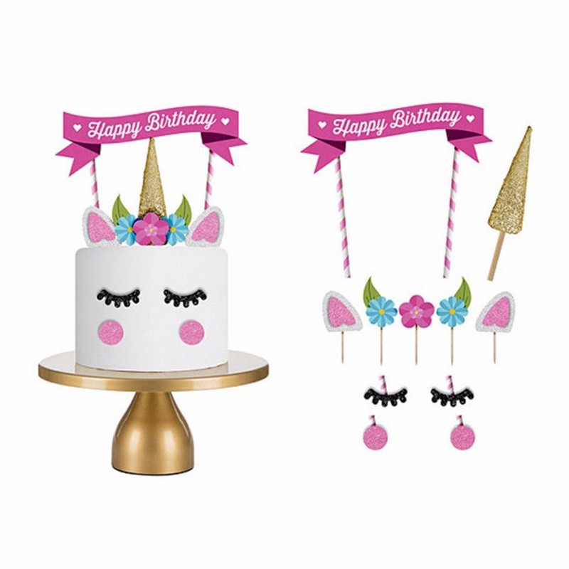 Swell 1Set Cute Unicorn Cake Topper Happy Birthday Candle Party Toppers Funny Birthday Cards Online Alyptdamsfinfo