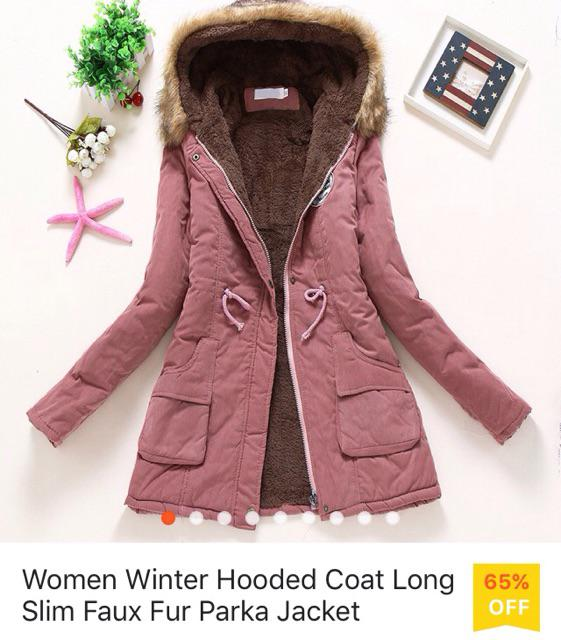 09b06c7c5a3 Women Winter Hooded Coat Long Slim Faux Fur Parka Jacket