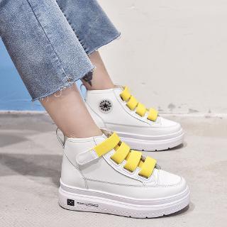 2020 fashion korean casual white shoes hightop flats lace