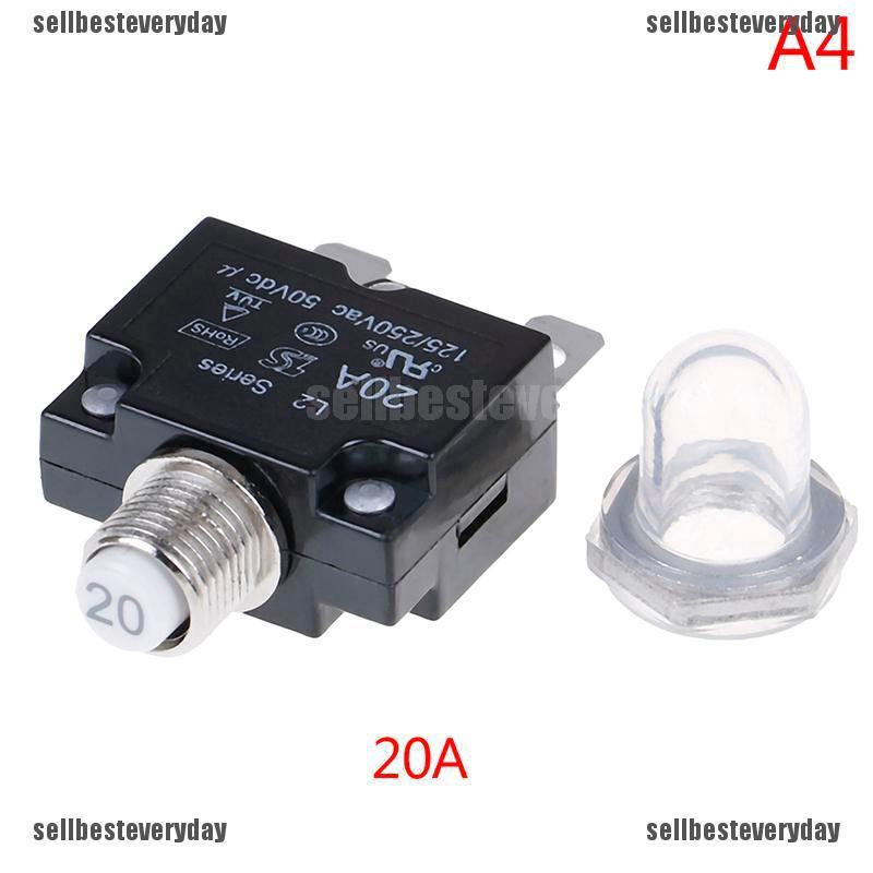 12V 5 10 15 20 30A Push Button Resettable Thermal Circuit Breaker Panel Mount
