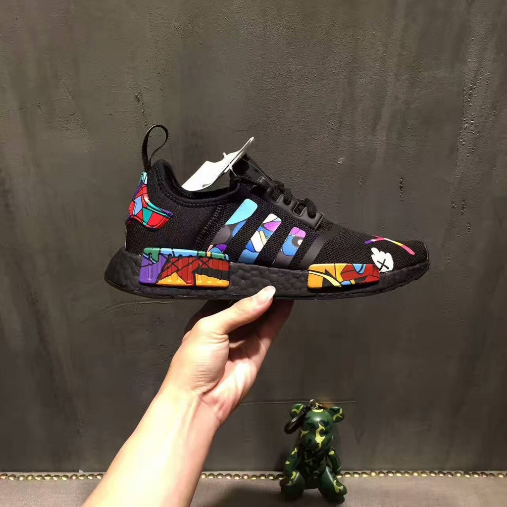 best loved 5f3d6 3c69c KAWS Graffiti x Adidas NMD R1 Boost Real Running Shoes   Shopee Philippines