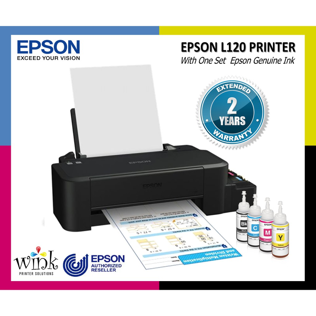 Epson L120 Printer with Original Inks (40ml Bk,C,M,Y)