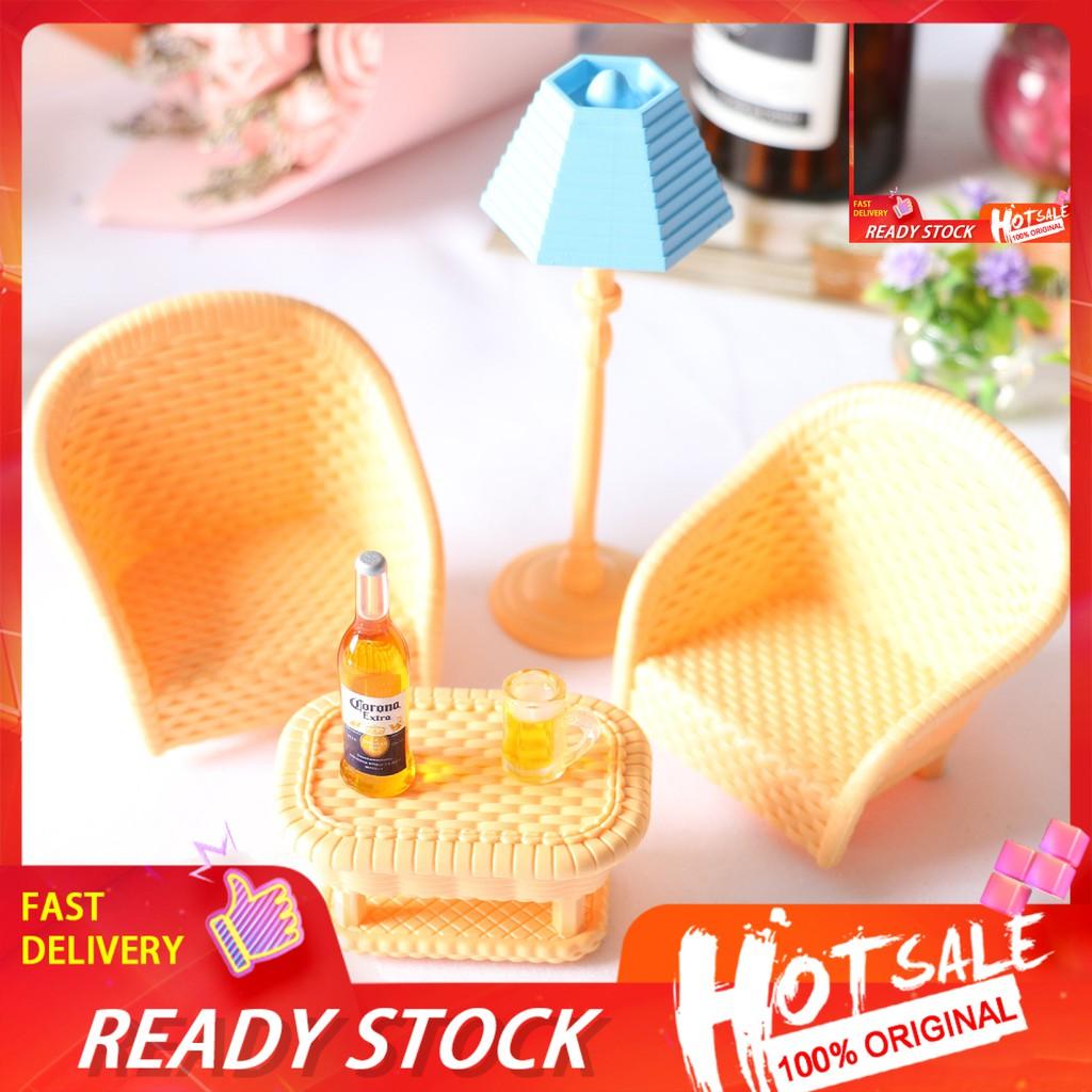 Id Dollhouse Miniature Rattan Chair Tea Table Light Beer Mug Living Room Decoration Shopee Philippines