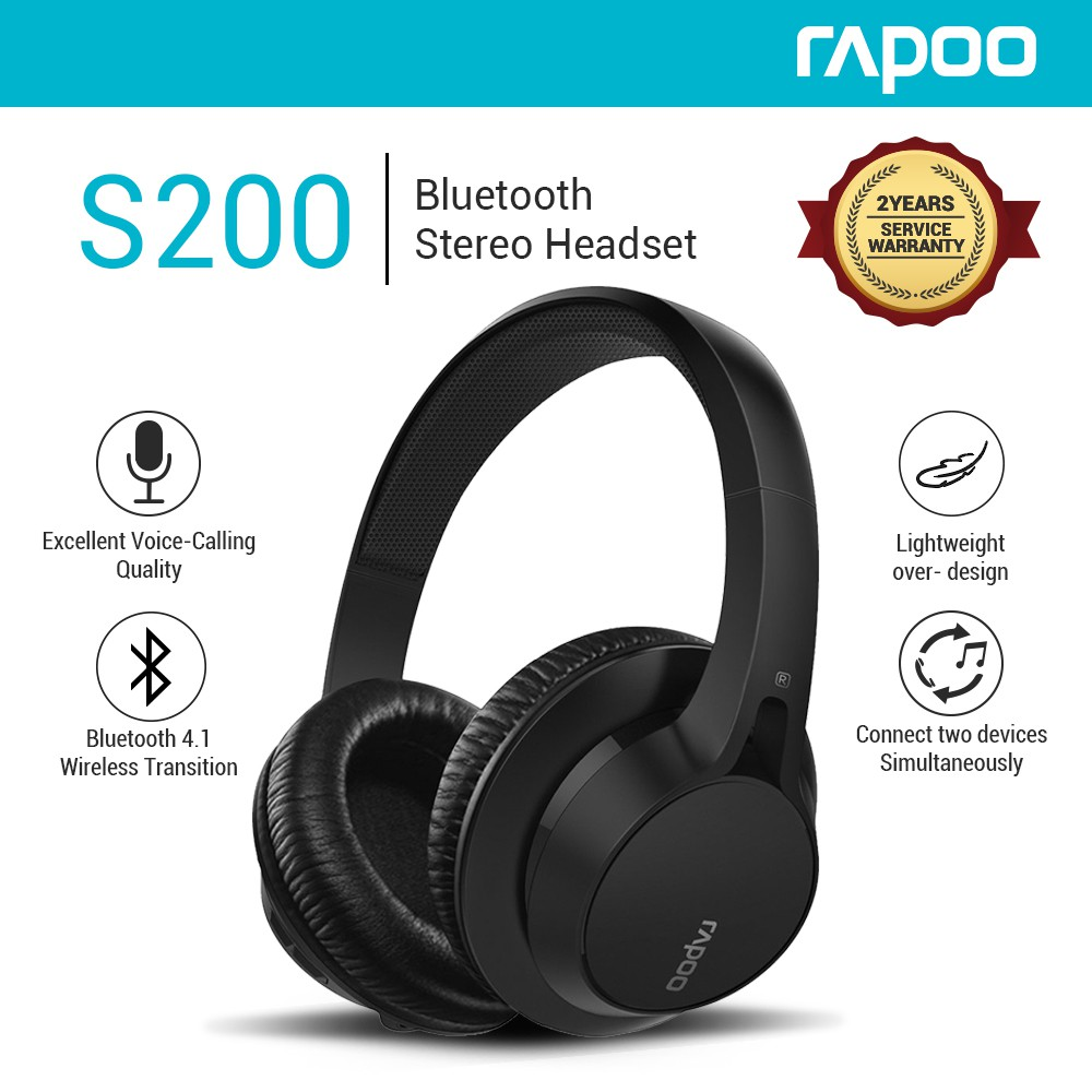 b259f43d4e0 Rapoo S200 Bluetooth Over Ear Headset Stereo Headphones | Shopee Philippines