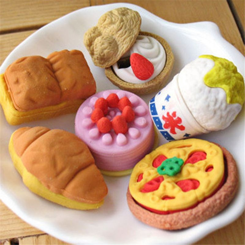 30-PCs Puzzle Sweet Dessert Food Cake Erasers For  Puzzle Party Kids Favors Toys