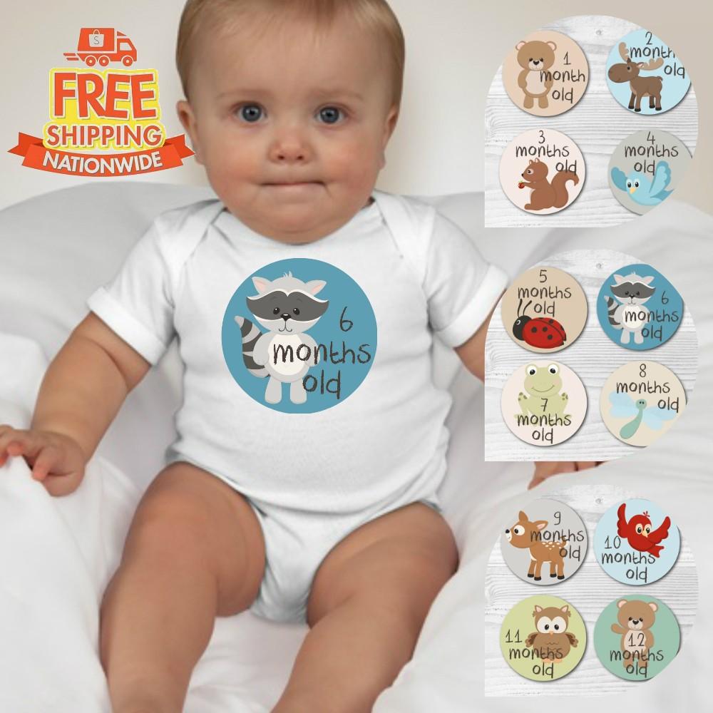287525979 Set of 1-12M Baby Custom Monthly Milestone Onesies