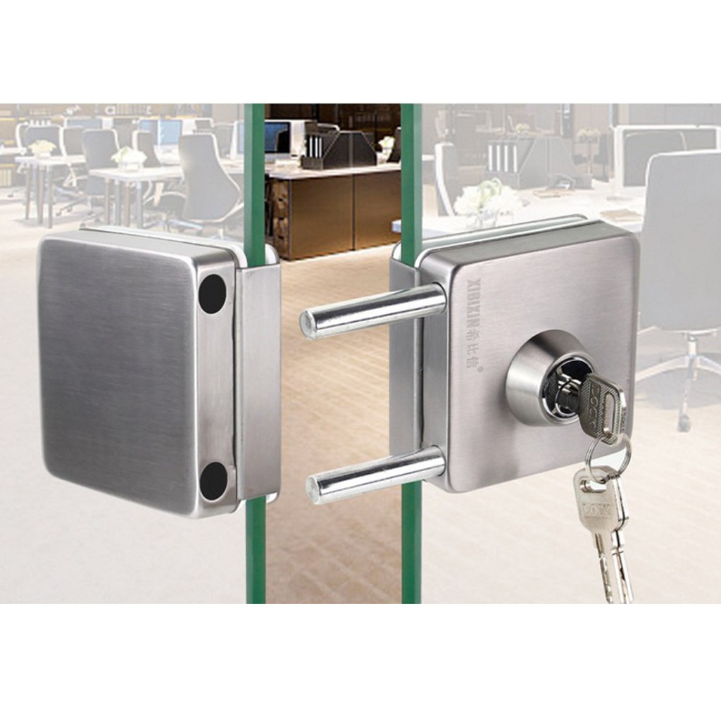 Stainless Steel Glass Double Door Sliding Door Lock No Punching Needed Shopee Philippines