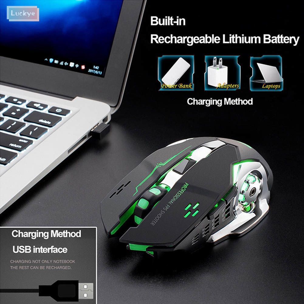2400DPI 6D LED Rechargeable USB Wireless Gaming Mouse Mice 600mAh For PC Laptop