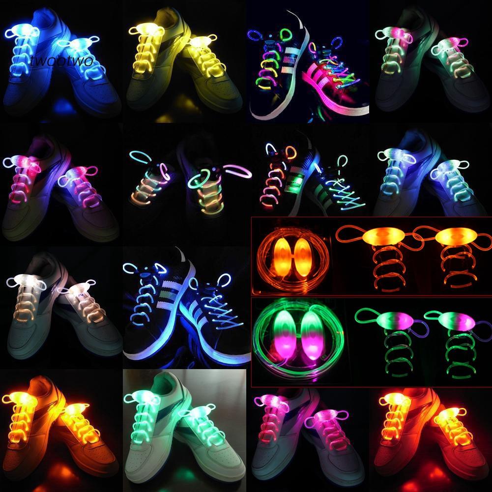 LED Shoelace Flash Luminous Light Up Glow Nylon Strap Shoe Laces Party Disco