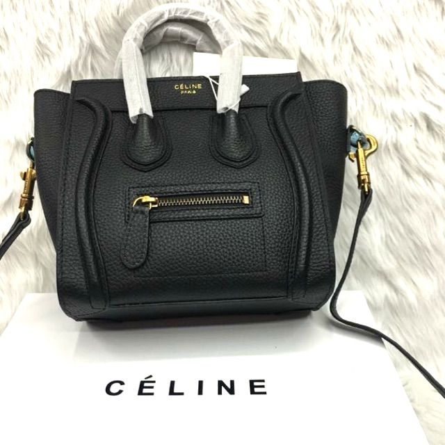 d04d6847f7d4a Authentic Celine Nano Luggage Bag Pebbled Leather Yellow | Shopee  Philippines
