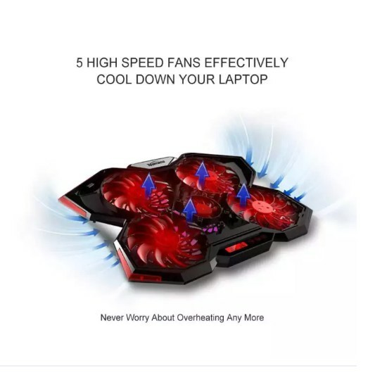 DI Laptop Cooling Pad Cooler Pad Mat 5 Fans For 17 Inch Lc-3