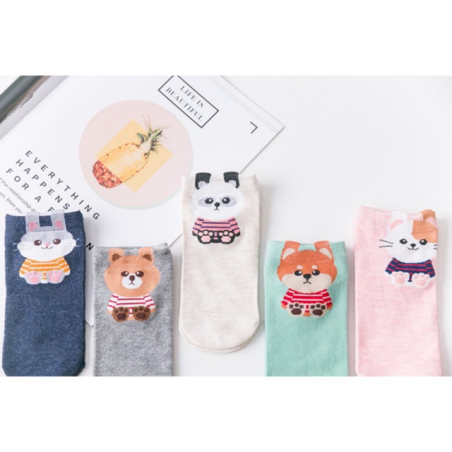 5pairs Cute Love Women Socks Candy Color Sweet Ship Boat Short Ankle Socks Jz
