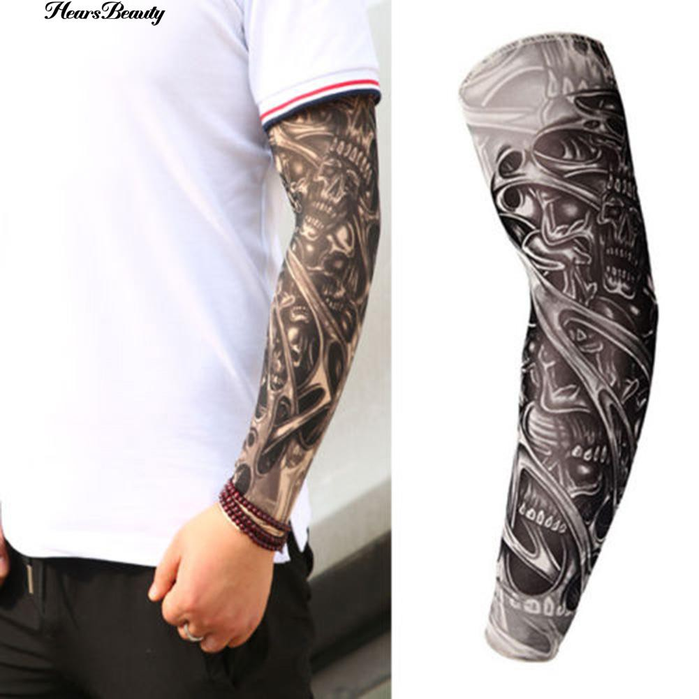 Arm Sleeves Black Gray Plaid Marble Mens Sun UV Protection Sleeves Arm Warmers Cool Long Set Covers