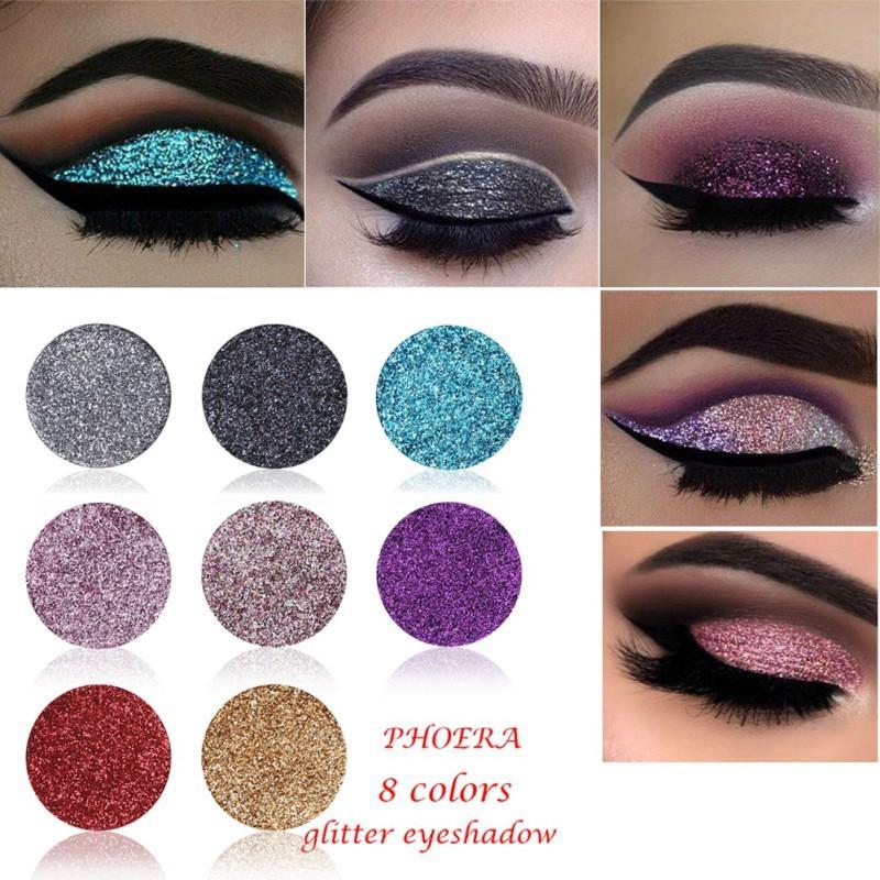 Eye Shadow Hot Sale Cmaadu 4 Coloful Glitter Eyeshadow Makeup Powder Palette Women Smoky Eyes Metallic Shimmer Eye Shadow Green Blue Purple Cosmetic Beauty & Health
