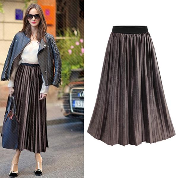 Womens New Plain Pleated Stretch Ladies Elasticated Waist Long Skirt Plus Size