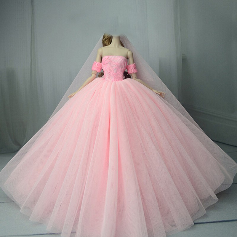 4f05e582d0 Handmade doll wedding dress for barbie 1/6 dolls evening party gown ...