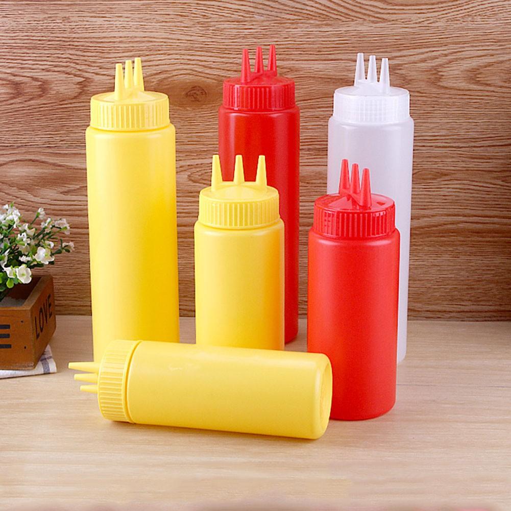 Condiment Dispenser Ketchup Mustard Sauce 12 oz Clear Plastic Squeeze Bottle