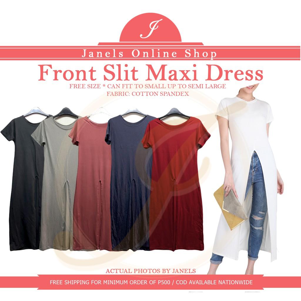 1791740ea5ede Fiona Front Slit Maxi Dress Cotton Spandex