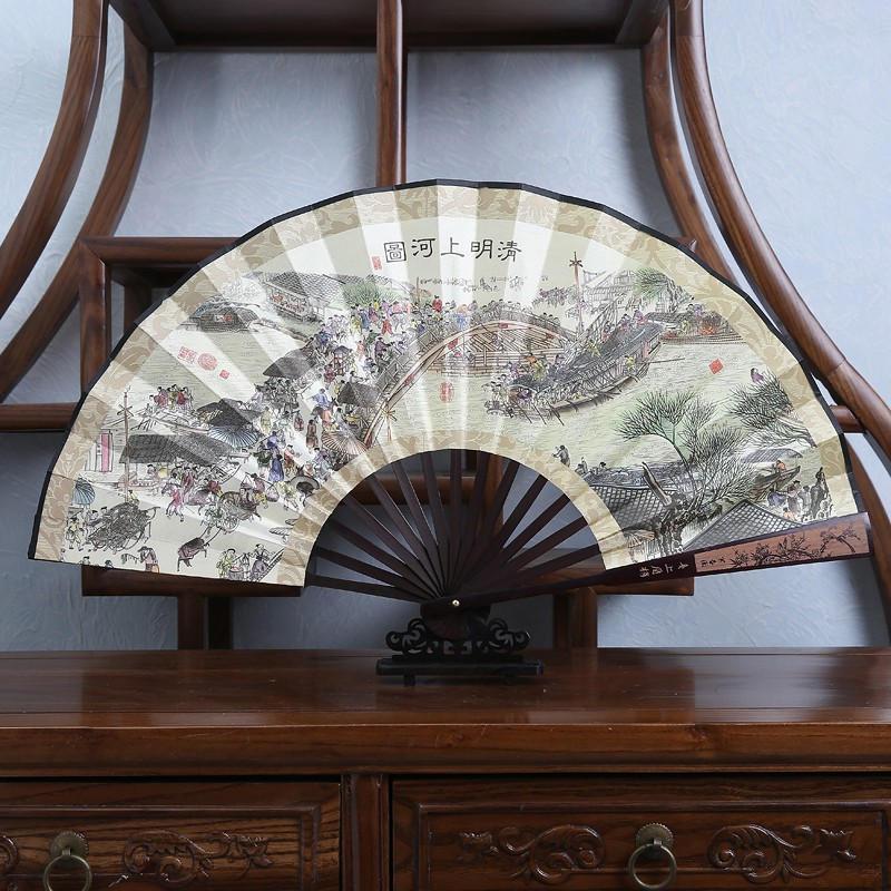 folding fan 10 inch men's carved fan silk printed classical   Shopee  Philippines