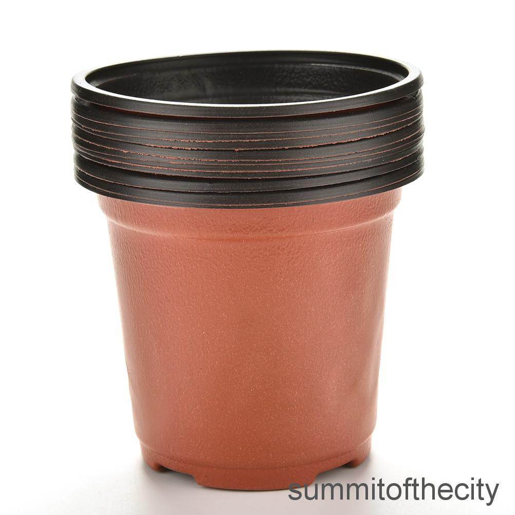 10x Mini Plastic Round Flower Pot