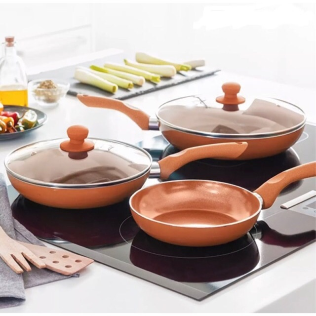 5 Pcs Copper Frying Pan Set | Shopee Philippines