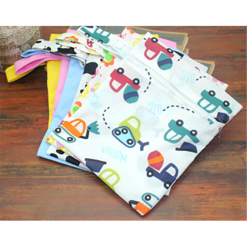 2Pcs Waterproof Two Zip Wet Dry Bag for Baby Cloth Diaper Nappy Pouch Reusable