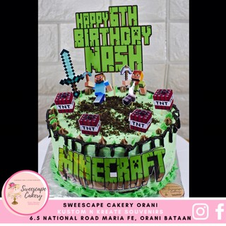 Minecraft Set Big Personalize Cake Cupcakes Toppers Shopee Philippines