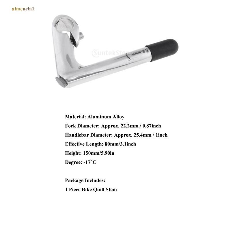 Mountain Bike Handlebar Aluminum Alloy Quill Stem 25.4mm Extender Adapter